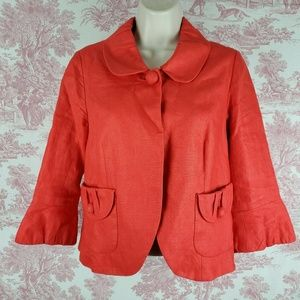 J. Crew Linen Cropped One Button Jacket Size 4